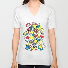 Blue Yellow Red Abstract 14 Unisex V-Neck