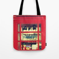 telephone Tote Bags featuring Telephone by Irène Sneddon