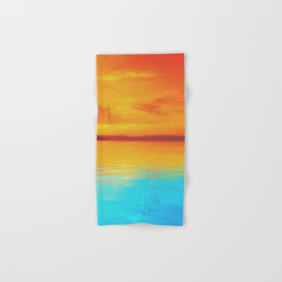 sunset beachh Hand & Bath Towel