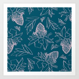 Tropical Ginger Plants in Coral + Dark Teal Green Art Print