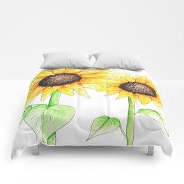 Sunflower Watercolor & ink Comforters