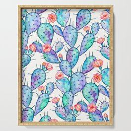 Rainbow Watercolor Cactus Pattern Serving Tray