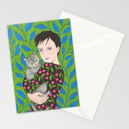 Lisbeth lady with cat Stationery Cards