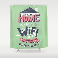 risa rodil Shower Curtains featuring Home Wifi by Risa Rodil