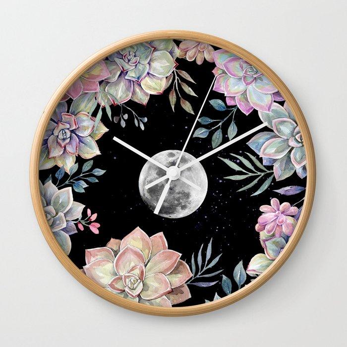 succulent full moon 4 Wall Clock