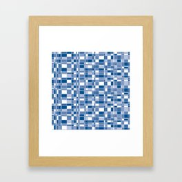 Mod Gingham - Blue Framed Art Print
