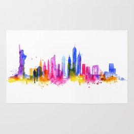 Silhouette overlay city New york Rug