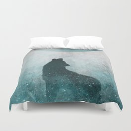 Howling Wolf: Space Silhouette Duvet Cover