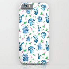 Blue Bunny Pattern iPhone Case