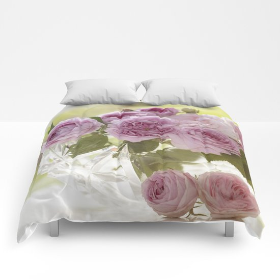 Wonderful English Roses in a crystal bowl- Rose-Flowers- Comforters