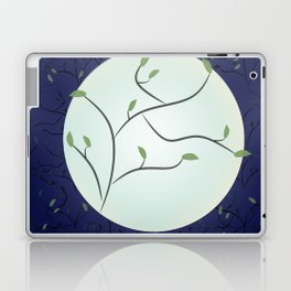 Full Moon With Leaves (Blue) Laptop & iPad Skin