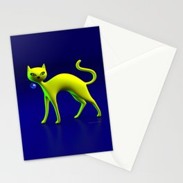 The Yellow Cat And Glass Blue Cherry Stationery Cards