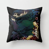 Throw Pillows featuring Savory Tastes by Novelteeth