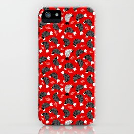 chickens and snails on red ground iPhone Case
