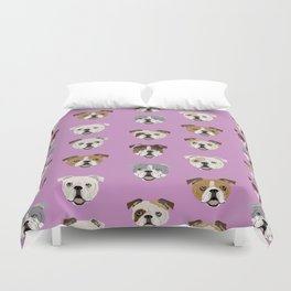 English Bulldog faces cute dog art pet portrait must have gifts for english bulldog owners Duvet Cover