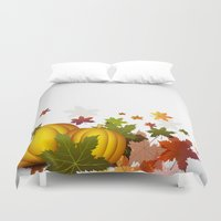 thanksgiving Duvet Covers featuring Thanksgiving Pumpkins by FantasyArtDesigns