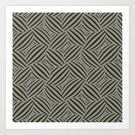 3d Cross Hatch Black & Gray Art Print