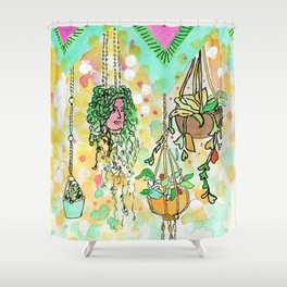 Hanging Plants with Robert Plant Shower Curtain