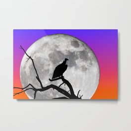 Vulture Silhouetted Against Supermoon Metal Print