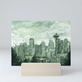 Seattle Skyline Watercolor Space Needle Emerald City 12th Man Art Mini Art Print
