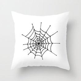 Spiderweb. Simle, one line hand drawn spiderweb. Black and white Throw Pillow