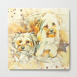 Penny and Copper Yorkie Mixes Metal Print