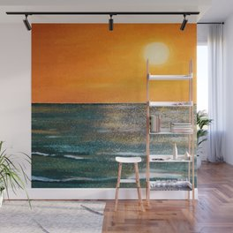 Sparkles Dancing Over the Ocean at Sunset Wall Mural