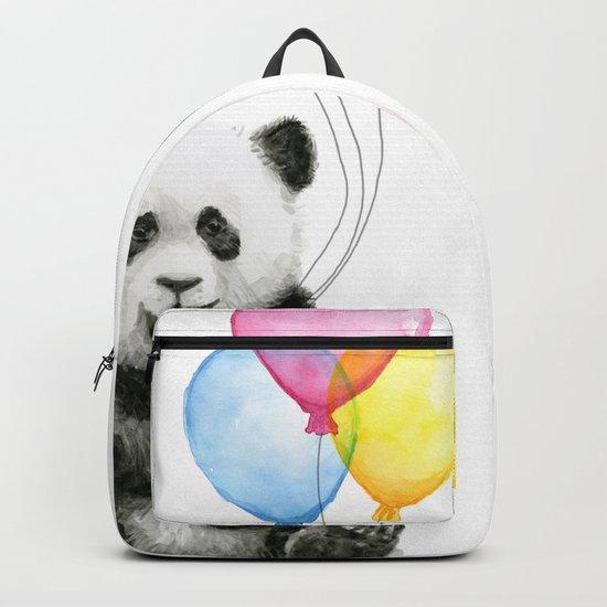 Panda Baby with Balloons Whimsical Nursery Animals Backpack