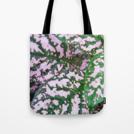 Green and pink leafed plant Tote Bag