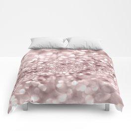 Sparkling Rose Gold Blush Glitter #1 #shiny #decor #art #society6 Comforters