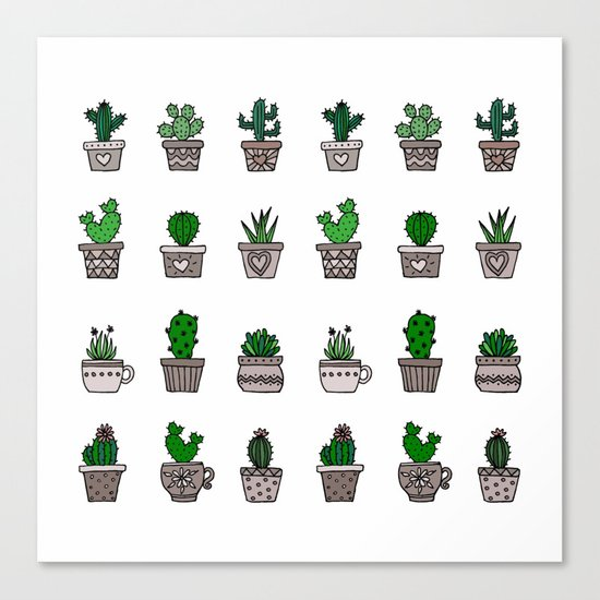 Cactus Pattern 2 Canvas Print