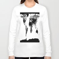 world map Long Sleeve T-shirts featuring World Map  Black & White by Whimsy Romance & Fun