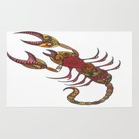 tatoo Area & Throw Rugs featuring Tatoo Scorpion by PepperDsArt