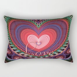 """Curly romantic heart with text """"Love Rectangular Pillow"""