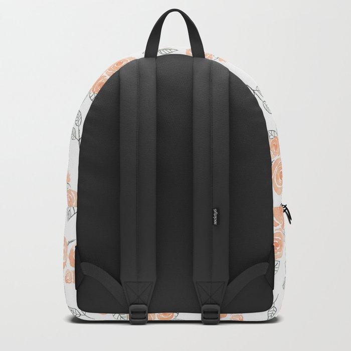Peach watercolor roses pattern Backpack