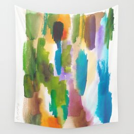 180812 Abstract Watercolour Expressionism 10   Colorful Abstract   Modern Watercolor Art Wall Tapestry