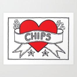 I Heart Chips Art Print