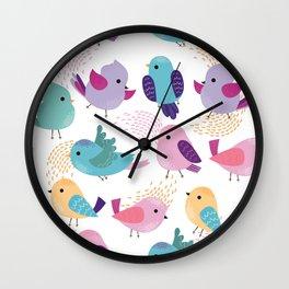 Lovely Cartoon Birds Pattern Wall Clock