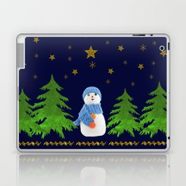 Sparkly gold stars, snowman and green tree Laptop & iPad Skin
