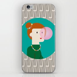 The girl and the bubble gum iPhone Skin