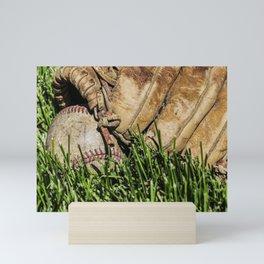 Baseball and Glove on Grass 3 Mini Art Print