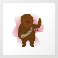 chewbacca Art Prints featuring chewbacca by Lalu - Laura Vargas
