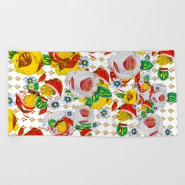 Canal Flowers Chaos pattern Beach Towel