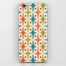 Mid Century Modern Abstract Star Pattern 441 Orange Brown Turquoise Chartreuse iPhone Skin