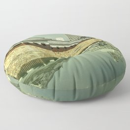 Hiroshima Castle Reflections Floor Pillow