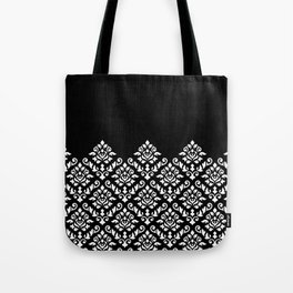 Damask Baroque Part Pattern White on Black Tote Bag
