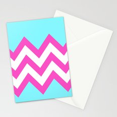 TEAL & PINK CHEVRON COLORBLOCK Stationery Cards