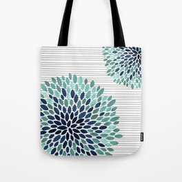 Blooms and Stripes, Aqua and Navy Tote Bag
