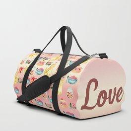 Watercolor Love doodles Duffle Bag