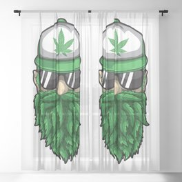 Beard from Cannabis Leaves - Weed Hipster Smoker Sheer Curtain